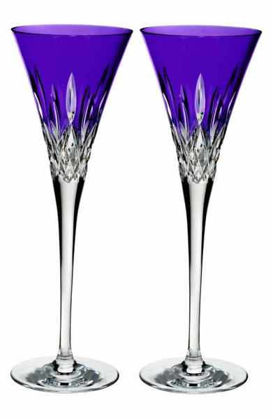Waterford Lismore Pops Set of 2 Purple Lead Crystal Champagne Flutes